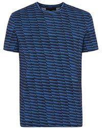 Nicole Farhi | Blue Printed Cotton T-Shirt | Lyst
