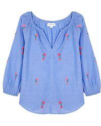 Velvet By Graham & Spencer - Martha Floral-embroidered Cotton Top - Lyst
