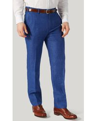 Harvie & Hudson - Bright Blue Wool And Linen Unfinished Trouser - Lyst