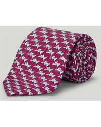 Harvie & Hudson - Burgundy Cocktail Glass Printed Silk Tie - Lyst