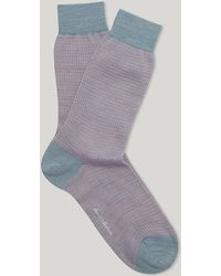 Harvie & Hudson - Sky And Pink Houndstooth Check Sock - Lyst