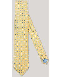 Harvie & Hudson - Yellow And Sky 3 Colour Flower 100% Silk Woven Tie - Lyst