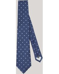 Harvie & Hudson - Navy And Sky Squares Woven Silk Tie - Lyst
