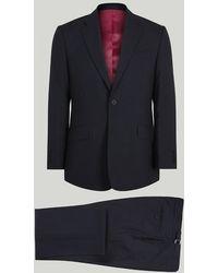 Harvie & Hudson - Navy Hopsack Wool Suit - Lyst