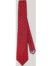 Harvie & Hudson - Burgundy Squares Woven Silk Tie - Lyst