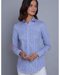 7b7356e53fd9b9 Hawes & Curtis - Blue & White Bengal Stripe Semi Fitted Shirt - Lyst