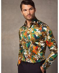 77ab198e Hawes & Curtis - Green & Gold Jungle Print Slim Fit Shirt - Lyst