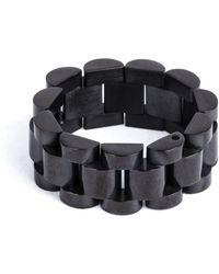 Mister - Black Noir Band Ring - Lyst