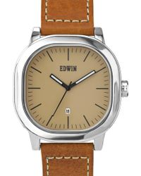 Edwin - Cream Dial With Brown Leather Band Anderson - Lyst