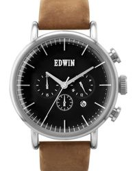 Edwin - Silver With Brown Leather Band Element - Lyst