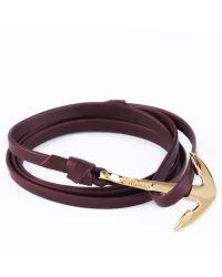 Miansai - Burgundy Gold Anchor On Leather Bracelet - Lyst