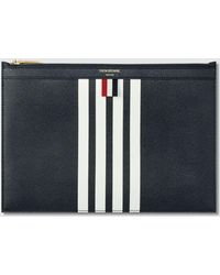 Thom Browne - Pebble Grain And Calf Leather Small Zipper Tablet Holder (29.5x20cm) With Contrast 4 Bar Stripe - Lyst