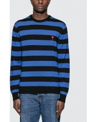 AMI - Crewneck Sweater With Rugby Stripes - Lyst