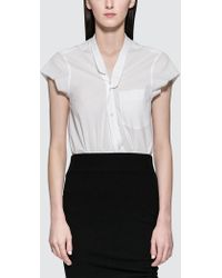 Alexander Wang - Washed Cotton Poplin Bodysuit With V-neck - Lyst