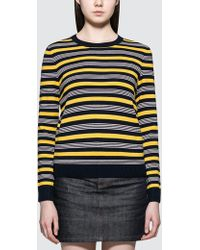 A.P.C. - Striped Knitted Top - Lyst