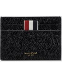 Thom Browne | Pebble Grain Leather Single Card Holder With Patent Leather Hector Intarsia | Lyst