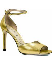 Lola Cruz - Gold Leather Open-toe Heeled Sandal - Lyst