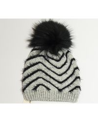 James Lakeland - Grey And Black Raccoon Knit Fur Pom Pom Hat - Lyst