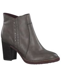 Tamaris | Stone Calf Leather Stud Ankle Boot | Lyst