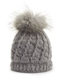 James Lakeland - Grey Wool Cable Knit Bobble Hat - Lyst