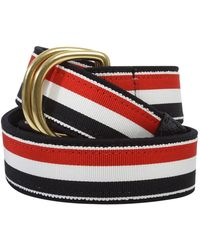 Thom Browne - D-ring Striped Belt Navy Blue - Lyst