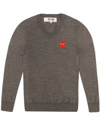 Comme des Garçons - Play Mens Intarsia Red Heart V-neck Jumper Grey - Lyst