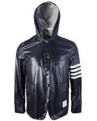 Thom Browne - Mju501a 03215 415 Unconstructed Button Up Hooded Sportscoat - Lyst