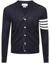 Thom Browne - Bar Stripe Merino Wool Cardigan Navy - Lyst