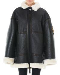 Vera Wang - Embroidery Shearling Jacket - Lyst