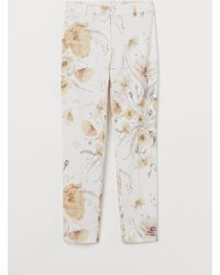 H&M Patterned Cigarette Trousers - White