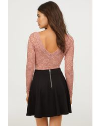 H&M - Long-sleeved Lace Bodysuit - Lyst