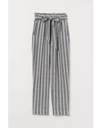 H&M Linen-blend Paper Bag Trousers - Black