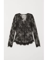 H&M - Fitted Lace Top - Lyst