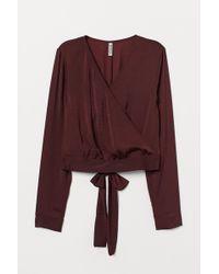 H&M - Bluse mit Bindebändern - Lyst