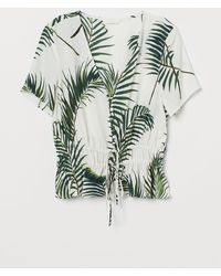 H&M - V-neck Buttoned Blouse - Lyst