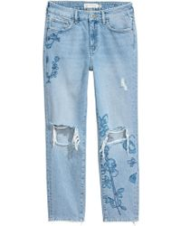 H&M - Straight Regular Ankle Jeans - Lyst