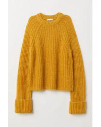 6c2cc28f0f6b0 H M Cable-knit Wool-blend Jumper in Yellow - Lyst