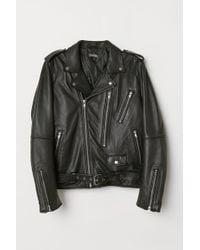 H&M - Veste en cuir de style motard - Lyst