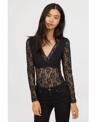 H&M - Long-sleeved Lace Bodysuit - Lyst