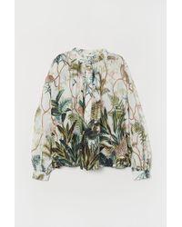 H&M Grandad Collar Viscose Blouse