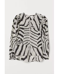 H&M - Puff-sleeved Blouse - Lyst