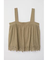 H&M - Top With Eyelet Embroidery - Lyst