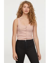 H&M - Tank Top With Snap Fasteners - Lyst