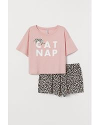 H&M Pyjama Top And Shorts - Pink