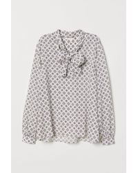 H&M - Patterned Blouse With Ties - Lyst