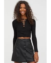 H&M - Short Jumper With Lacing - Lyst