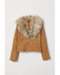 H&M Faux Fur Collar Biker Jacket - Natural