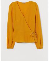 H&M - Jacquard Weave Wrapover Blouse - Lyst