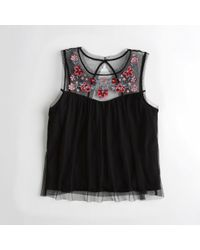 Hollister - Embroidered Mesh Tank - Lyst