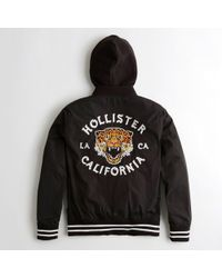 Hollister - Guys Graphic Hooded Bomber Jacket From Hollister - Lyst